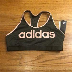 Adidas grey and pink sports bra